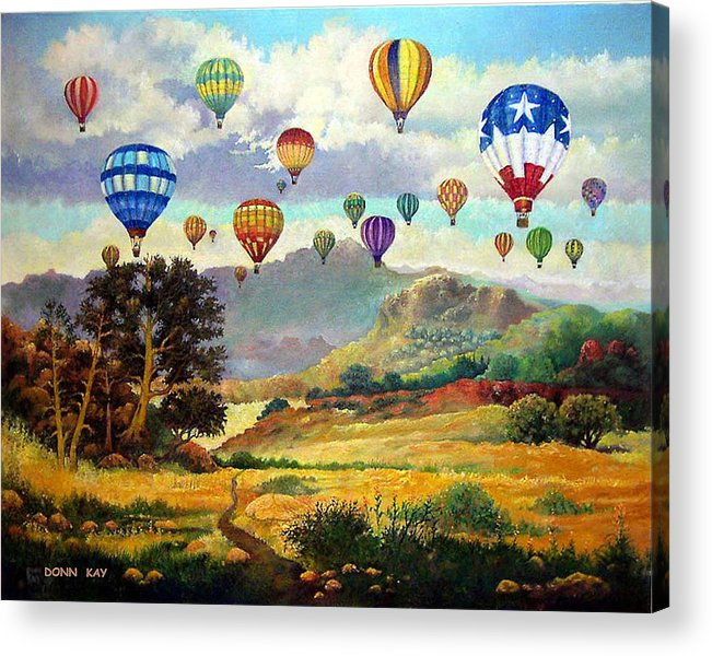 Balloons Mountains New Mexico Texas Southwest Landscape Acrylic Print featuring the painting Sky Full Of Color by Donn Kay
