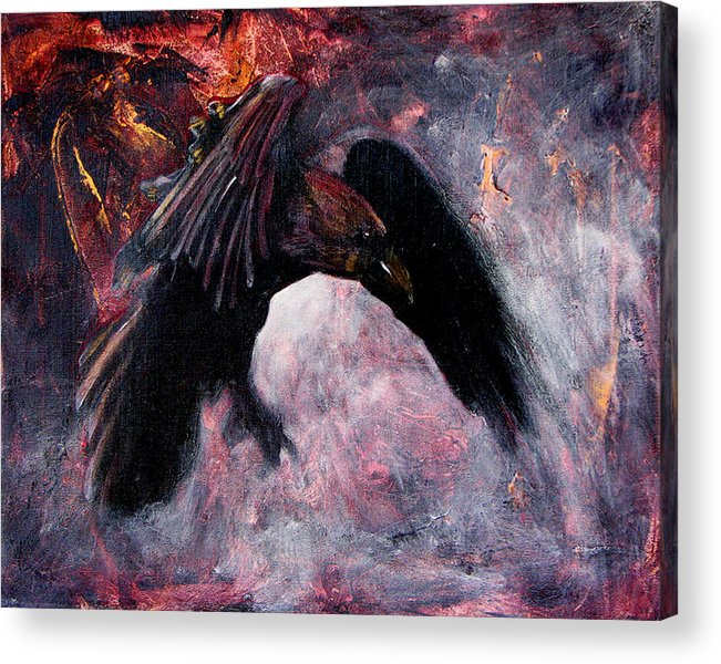 Raven Acrylic Print featuring the painting Grave And Stern Decorum by Sandy Applegate