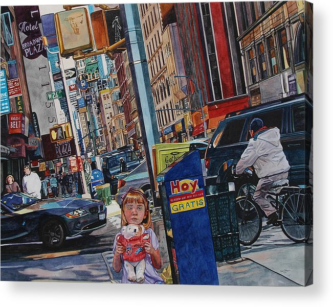 City Acrylic Print featuring the painting Lost by Valerie Patterson