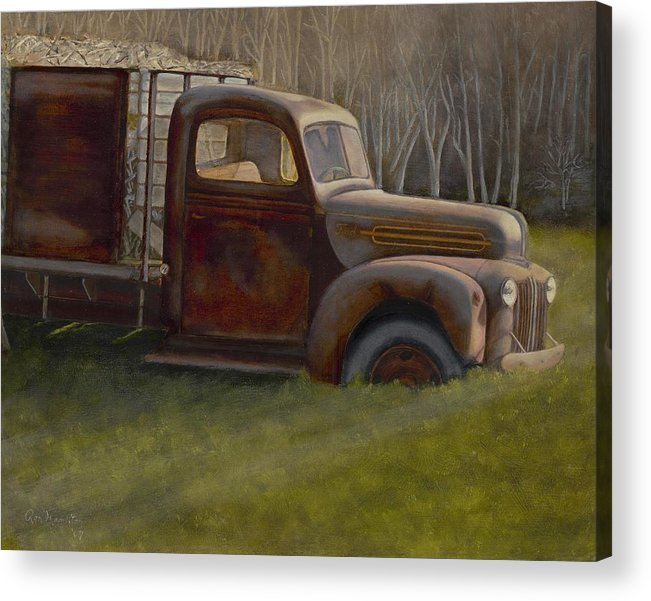 Landscape Acrylic Print featuring the painting Old Farm Truck by Ron Hamilton