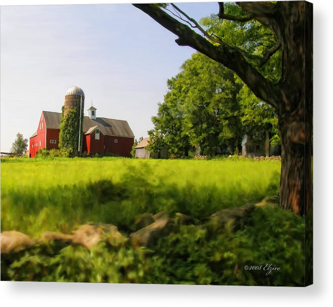 Farm Acrylic Print featuring the painting Old New England Farm by Elzire S