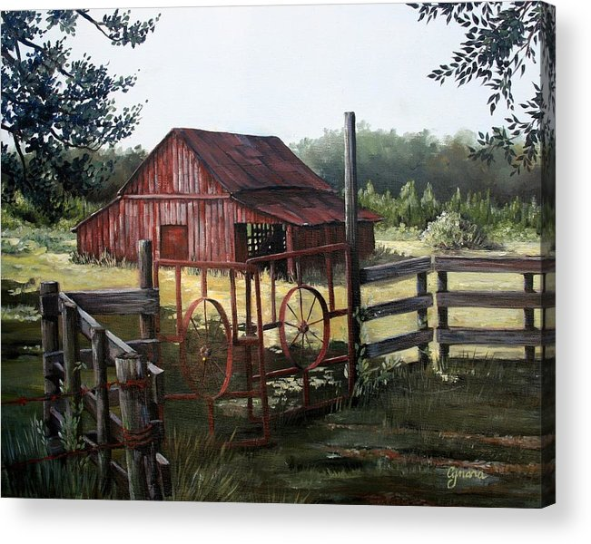 Barn Acrylic Print featuring the painting Red Barn At Sunrise by Cynara Shelton