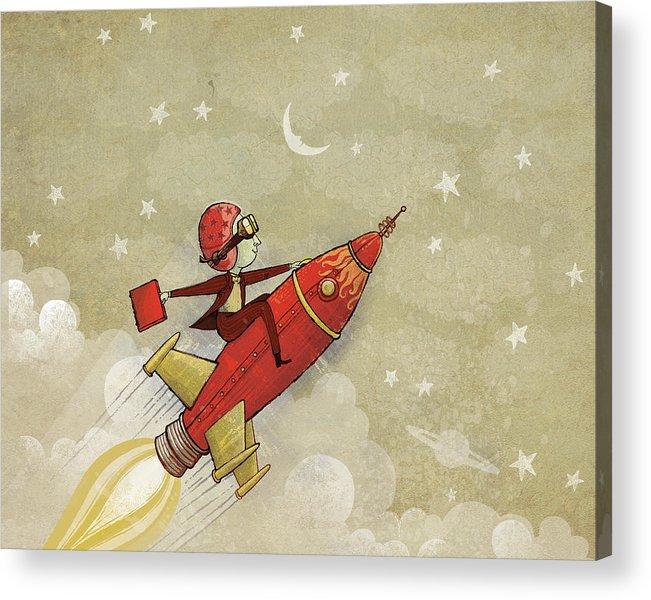 Rocket Acrylic Print featuring the digital art Rockship by Dennis Wunsch