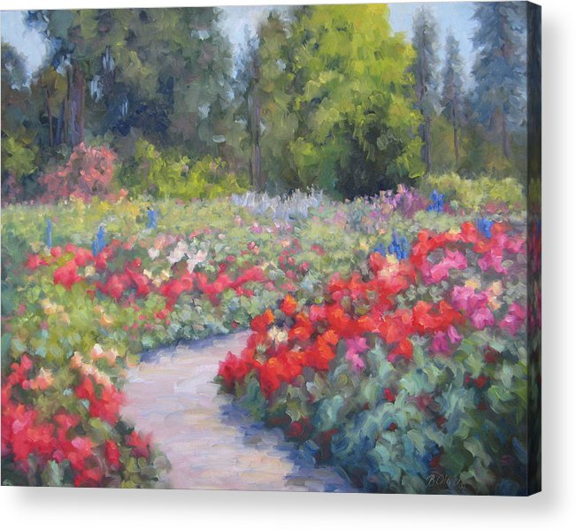 Rose Acrylic Print featuring the painting Rose Extravaganza by Bunny Oliver