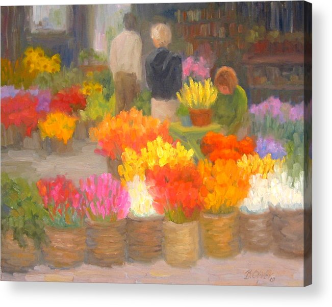 Flowers Acrylic Print featuring the painting Tending Flowers - Amsterdam by Bunny Oliver