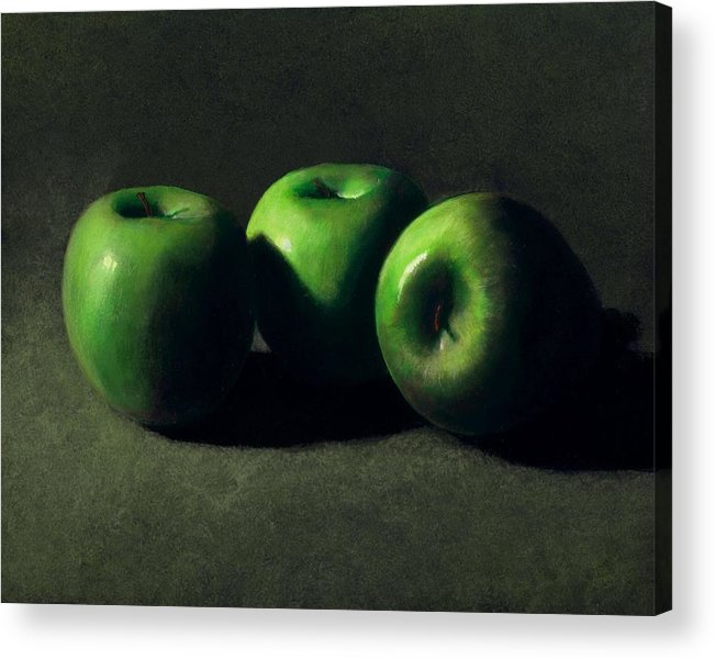 Still Life Acrylic Print featuring the painting Three Green Apples by Frank Wilson