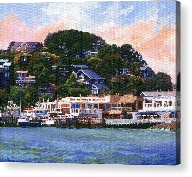 Landscape Acrylic Print featuring the painting Tiburon California Waterfront by Frank Wilson