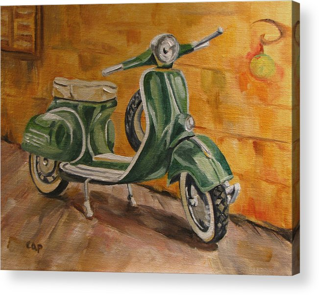 Vespa Acrylic Print featuring the painting Vespa 3 by Cheryl Pass