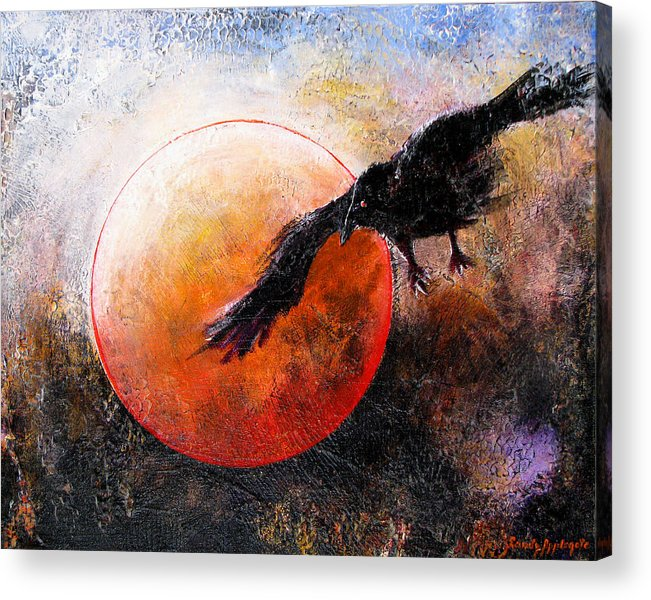 Raven Acrylic Print featuring the painting Wandering From The Nightly Shore by Sandy Applegate