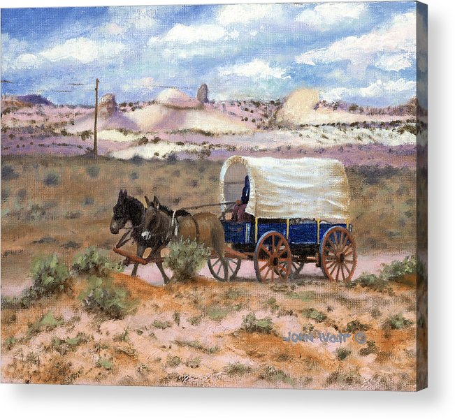 Navajo Indian Southwestern Monument Valley Wagons Acrylic Print featuring the painting Slow Boat To Chinle by John Watt