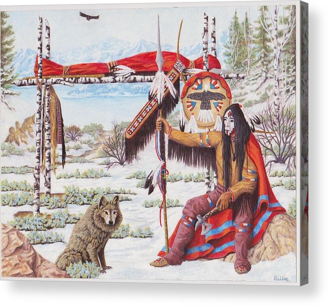 Indian Art--indian Painting--western--winter--snow--lake--mountains--dog--eagle Acrylic Print featuring the painting Childhood Friend by Billie Bowles