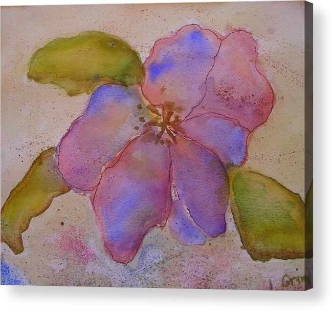 Floral Acrylic Print featuring the painting Glory Flower by Lessandra Grimley