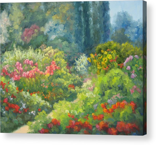 Landscape Acrylic Print featuring the painting Enchanted Garden by Bunny Oliver