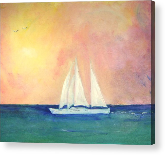Coastal Acrylic Print featuring the painting Sailboat - Regatta Of One by Michela Akers