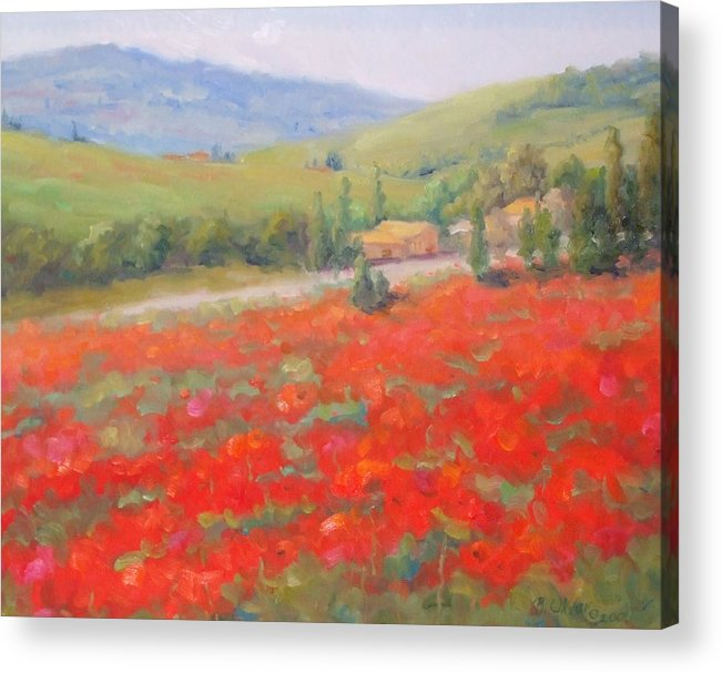 Landscape Acrylic Print featuring the painting Spring In Tuscany by Bunny Oliver