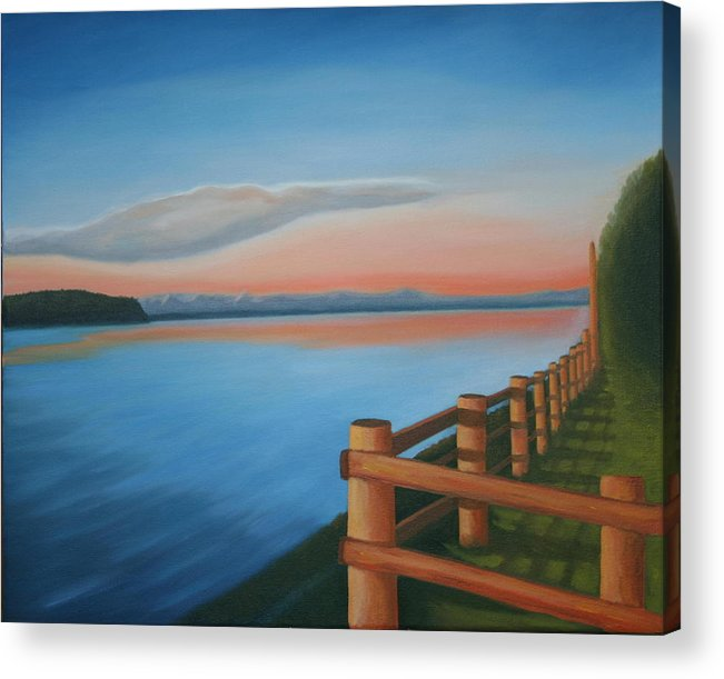 Seascape Acrylic Print featuring the painting Whidbey Island Sunset by Stephen Degan