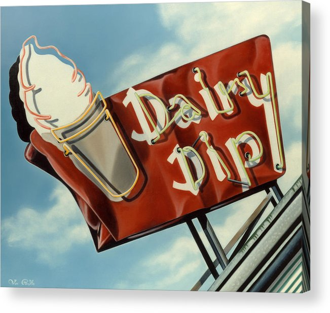 Neon Acrylic Print featuring the painting Dairy Dip by Van Cordle