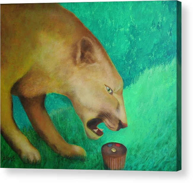 Animal Acrylic Print featuring the painting Fearless Cupcake by Rf Hauver