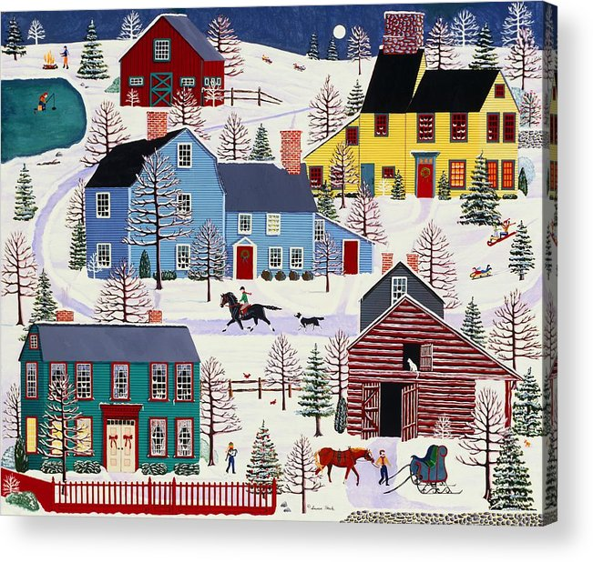 Folk Art Acrylic Print featuring the painting Winter Evening Fun by Susan Henke