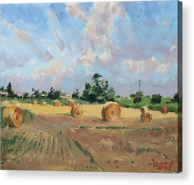 Summer Acrylic Print featuring the painting Summer Fields In Georgetown On by Ylli Haruni