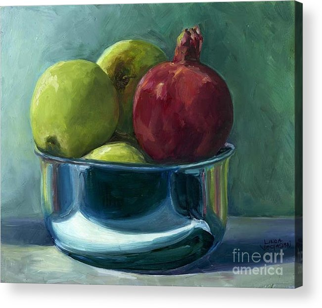 Apple Acrylic Print featuring the painting Green Apples And A Pomegranate by Linda Vespasian