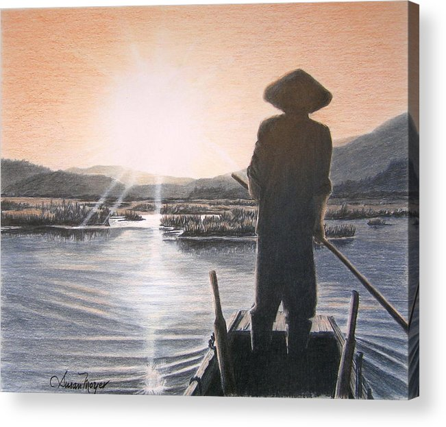 Landscape Acrylic Print featuring the drawing Homeward Bound by Susan Moyer