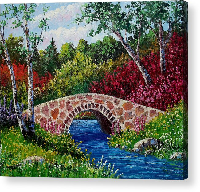 Landscape Acrylic Print featuring the painting The Little Stone Bridge by David G Paul