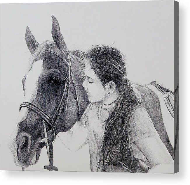 Pets Horses Horseback Riding Children Acrylic Print featuring the painting Best Friends by Tony Ruggiero