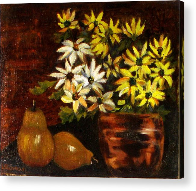 Daisies Acrylic Print featuring the painting Daisies And Pears by Lia Marsman