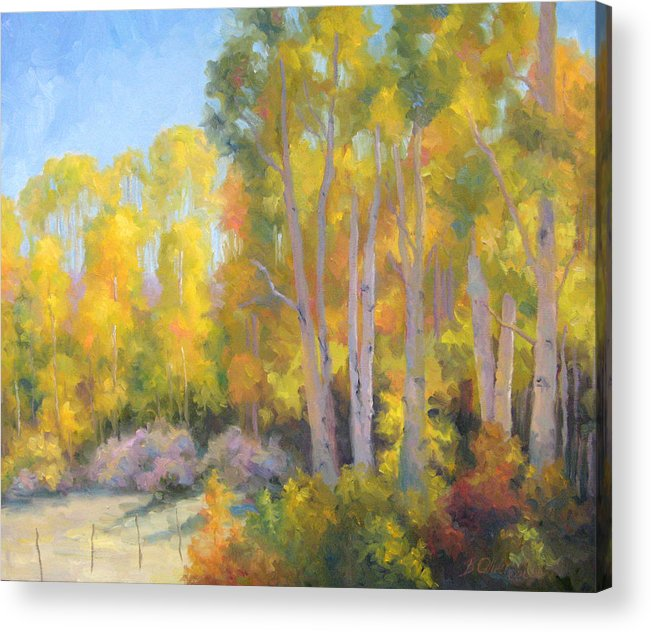 Autumn Acrylic Print featuring the painting October Delight by Bunny Oliver