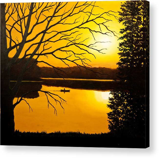 Water Acrylic Print featuring the painting Day On The Lake by Mark Regni
