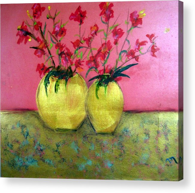 Decorative Acrylic Print featuring the painting Golden Vases - Red Blooms by Michela Akers