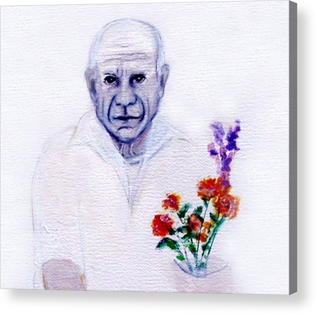 Pablo Picasso Acrylic Print featuring the painting Primroses For Picasso by Michela Akers