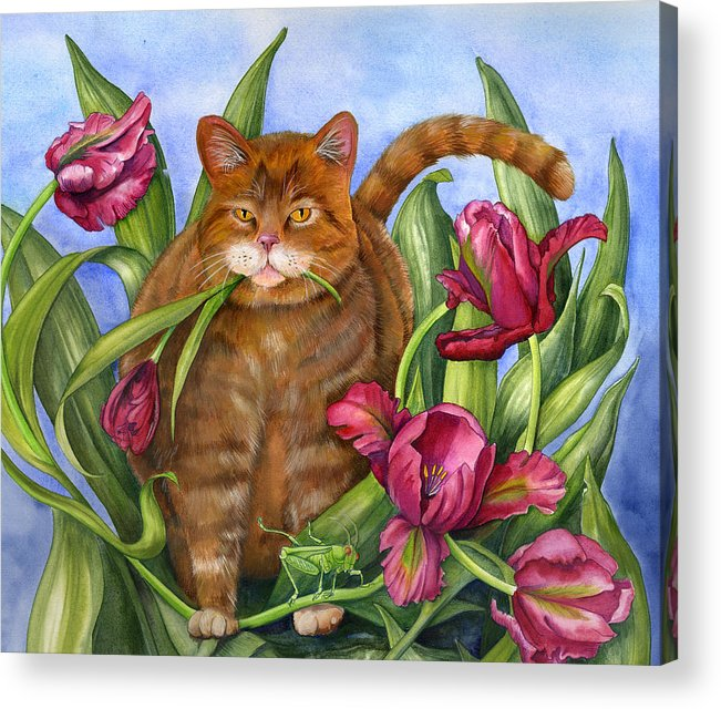 Cats Acrylic Print featuring the painting Tango In The Tulips by Mindy Lighthipe