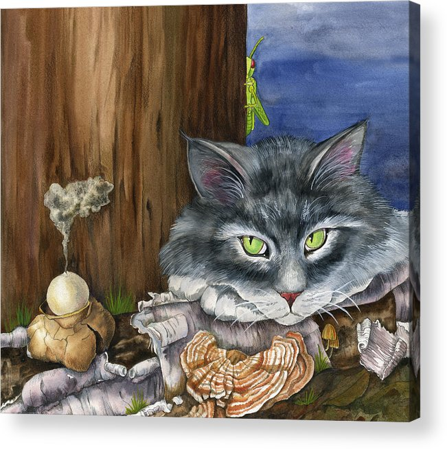 Cats Acrylic Print featuring the painting Mona With The Mushrooms by Mindy Lighthipe