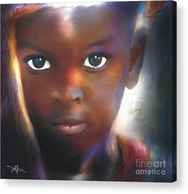 Portrait Acrylic Print featuring the painting Windows To The Soul by Bob Salo