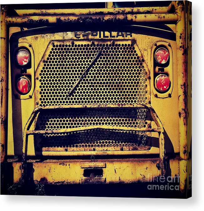 Caterpillar Acrylic Print featuring the photograph Dump Truck Grille by Amy Cicconi