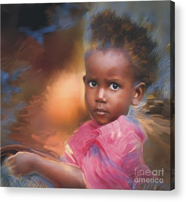 Portrait Acrylic Print featuring the painting Hour Of Need by Bob Salo