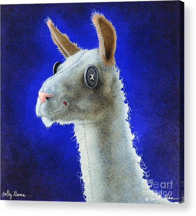 Will Bullas Acrylic Print featuring the painting Dolly Llama... by Will Bullas