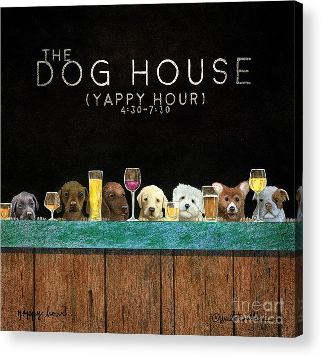 Will Bullas Acrylic Print featuring the painting Yappy Hour... by Will Bullas