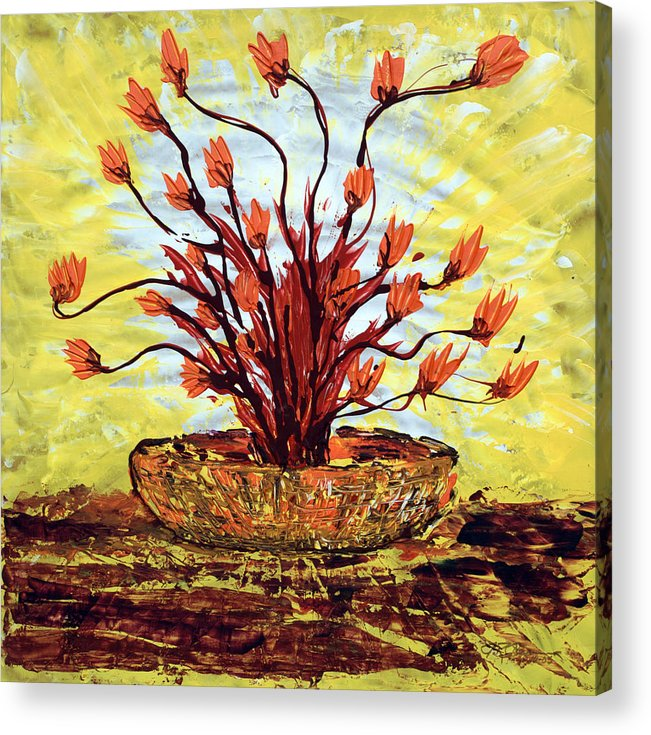 Red Bush Acrylic Print featuring the painting The Burning Bush by J R Seymour