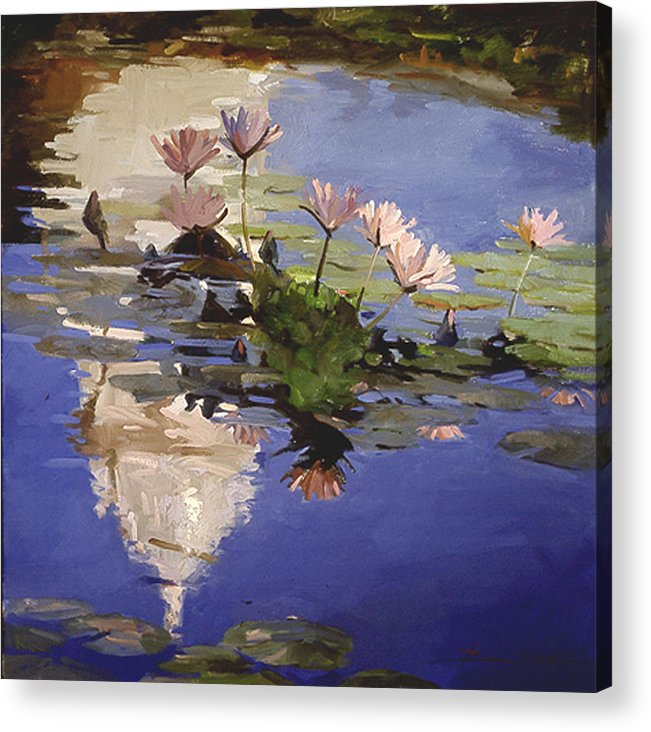 Water Lilies Acrylic Print featuring the painting The Dome - Water Lilies by Betty Jean Billups