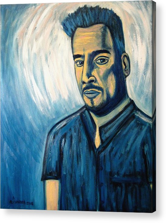 Figure Acrylic Print featuring the painting Self Portrait 2008 by Albert Almondia