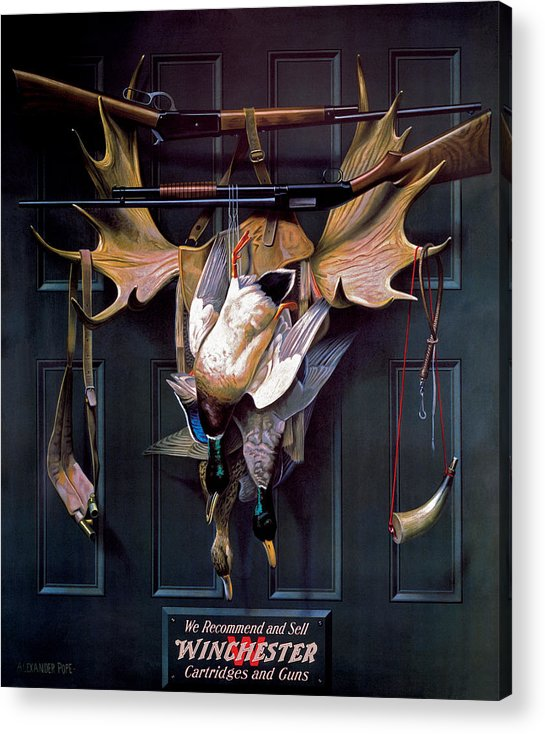 Waterfowl Acrylic Print featuring the painting Successful Hunter Door Art by Alexander Pope