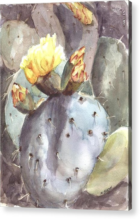 Cactus Acrylic Print featuring the painting Cactus Flower by Marilyn Barton