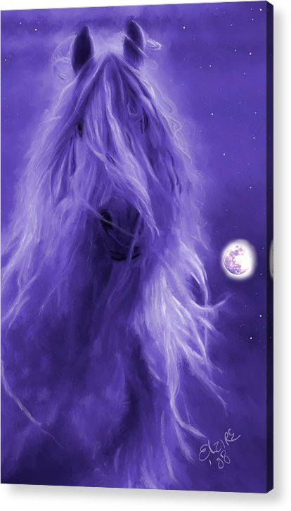 Purple Acrylic Print featuring the painting After Midnight by Elzire S