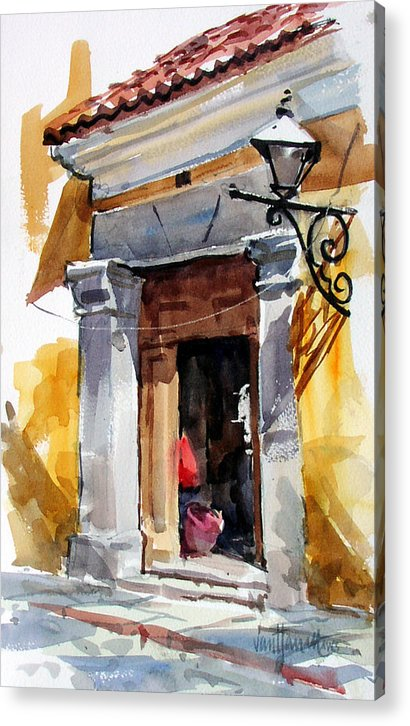Guatemala Acrylic Print featuring the painting Spanish Colonial Portal by Tony Van Hasselt