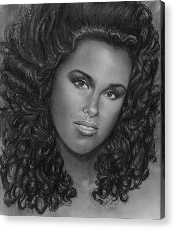 Acrylic Print featuring the drawing Alicia Keys by Carliss Mora