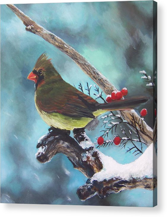 Female Northern Cardinal Acrylic Print featuring the painting Cardinal Queen by Audrie Sumner