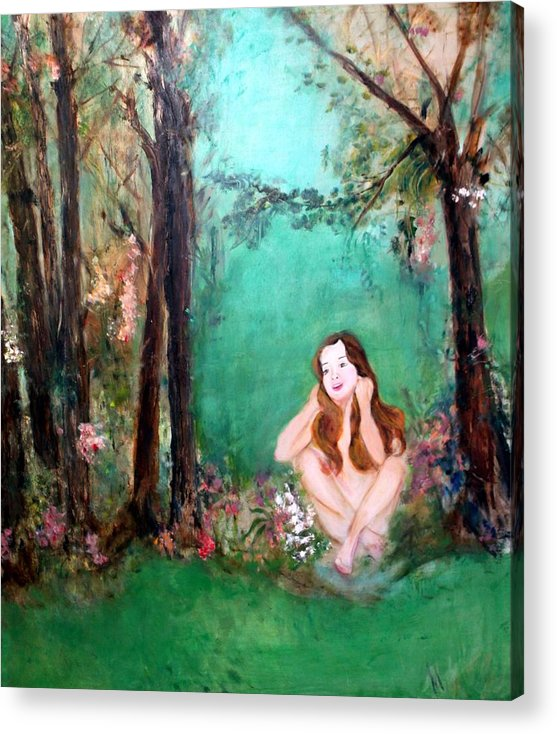 Young Girl Acrylic Print featuring the painting The Song by Michela Akers